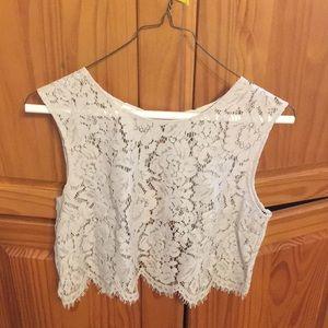 Jenny Yoo Lace Crop Shirt